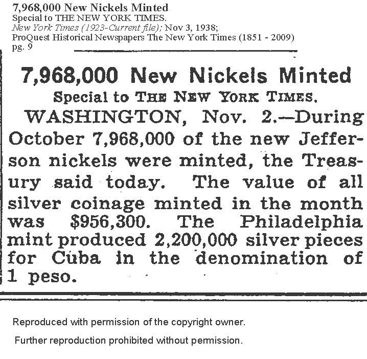 The Jefferson Nickel Competition 1938
